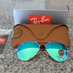 Ray-Ban RB3025 Green Flash - 58MM - Gold Frame-NEW